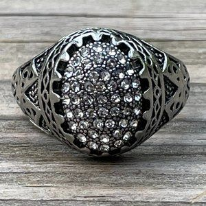 Men Rings Silver Tone Crystal Accents Fashion Jewe